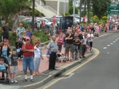 Amazing Convoy supporters cheering on The People's Truck