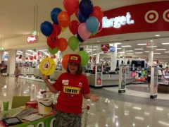 2013 happy volunteer at shopping centre